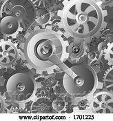 Vector Illustration of Cartoon Gears and Cogs Seamless Machine Pattern by AtStockIllustration