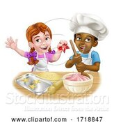 Vector Illustration of Cartoon Girl and Boy Child Chef Cook Children by AtStockIllustration