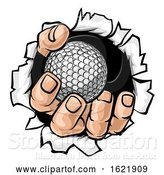 Vector Illustration of Cartoon Golf Ball Hand Tearing Background by AtStockIllustration