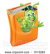 Vector Illustration of Cartoon Graduate Bookworm Caterpillar Worm in Book by AtStockIllustration