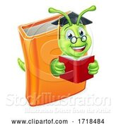 Vector Illustration of Cartoon Graduate Bookworm Caterpillar Worm in Book Reading by AtStockIllustration
