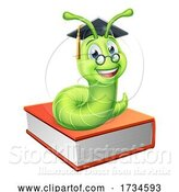 Vector Illustration of Cartoon Graduate Caterpillar Bookworm on Book by AtStockIllustration
