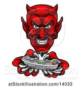 Vector Illustration of Cartoon Grinning Evil Red Devil Playing with a Video Game Controller by AtStockIllustration