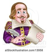 Vector Illustration of Cartoon Guy, William Shakespeare Holding a Scroll and Feather Quill, from Waist up by AtStockIllustration