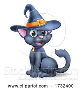 Vector Illustration of Cartoon Halloween Black Cat in Witch Hat Cartoon by AtStockIllustration