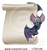 Vector Illustration of Cartoon Halloween Vampire Bat Character Scroll by AtStockIllustration