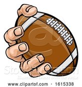 Vector Illustration of Cartoon Hand Holding American Football Ball by AtStockIllustration