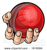 Vector Illustration of Cartoon Hand Holding Cricket Ball by AtStockIllustration
