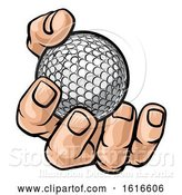 Vector Illustration of Cartoon Hand Holding Golf Ball by AtStockIllustration