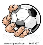 Vector Illustration of Cartoon Hand Holding Soccer Ball by AtStockIllustration
