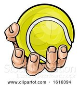Vector Illustration of Cartoon Hand Holding Tennis Ball by AtStockIllustration