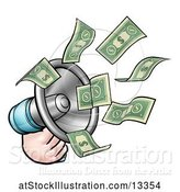 Vector Illustration of Cartoon Hand with Money Flying out of a Megaphone by AtStockIllustration