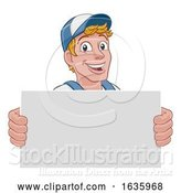 Vector Illustration of Cartoon Handyman Caretaker Construction Guy Sign by AtStockIllustration