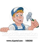 Vector Illustration of Cartoon Handyman Hammer Guy DIY Carpenter Builder by AtStockIllustration