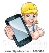 Vector Illustration of Cartoon Handyman or Mechanic Phone Concept by AtStockIllustration