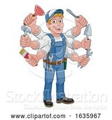 Vector Illustration of Cartoon Handyman Tools Caretaker Construction Guy by AtStockIllustration