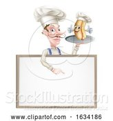 Vector Illustration of Cartoon Hotdog Chef Pointing by AtStockIllustration