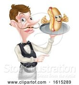 Vector Illustration of Cartoon Hotdog Waiter Butler Pointing by AtStockIllustration