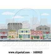 Vector Illustration of Cartoon Houses Shops Street Victorian Georgian Buildings by AtStockIllustration