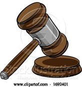 Vector Illustration of Cartoon Judge Hammer Wooden Gavel and Base Cartoon by AtStockIllustration