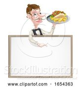 Vector Illustration of Cartoon Kebab and Chips Waiter Sign by AtStockIllustration