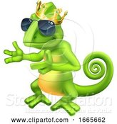Vector Illustration of Cartoon King Chameleon by AtStockIllustration