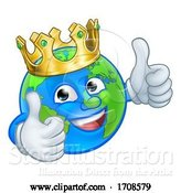Vector Illustration of Cartoon King Earth Globe World Mascot Character by AtStockIllustration