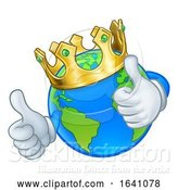 Vector Illustration of Cartoon King Gold Crown Earth Globe World Mascot by AtStockIllustration