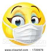 Vector Illustration of Cartoon Lady Emoticon Emoji PPE Medical Mask Face Icon by AtStockIllustration