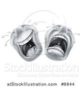 Vector Illustration of Cartoon Laughing and Crying Trajedy and Comedy Theater Emoji Emoticons by AtStockIllustration