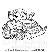 Vector Illustration of Cartoon Lineart Bulldozer Digger Mascot Character by AtStockIllustration