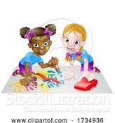 Vector Illustration of Cartoon Little Girls Playing with Car and Painting by AtStockIllustration