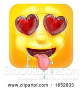 Vector Illustration of Cartoon Love or Lust Emoji Emoticon Icon Character by AtStockIllustration