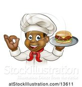 Vector Illustration of Cartoon Male Chef Holding a Cheese Burger on a Tray and Gesturing Perfect by AtStockIllustration