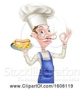 Vector Illustration of Cartoon Male Chef Holding a Hot Dog and Fries on a Tray and Gesturing Perfect by AtStockIllustration