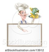 Vector Illustration of Cartoon Male Chef Holding Fish and Chips on a Tray and Pointing down over a Menu by AtStockIllustration