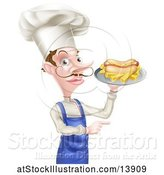 Vector Illustration of Cartoon Male Waiter Holding a Hot Dog and Fries on a Tray and Pointing by AtStockIllustration
