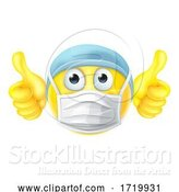 Vector Illustration of Cartoon Mask Emoticon Emoji Thumbs up PPE Doctor Nurse by AtStockIllustration