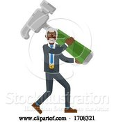 Vector Illustration of Cartoon Mature Black Businessman Holding Hammer Mascot by AtStockIllustration