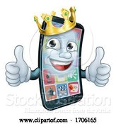 Vector Illustration of Cartoon Mobile Phone King Crown Thumbs up Mascot by AtStockIllustration