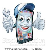 Vector Illustration of Cartoon Mobile Phone Repair Spanner Thumbs up Cartoon by AtStockIllustration