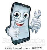 Vector Illustration of Cartoon Mobile Phone Repair Spanner Thumbs up Mascot by AtStockIllustration