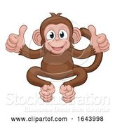 Vector Illustration of Cartoon Monkey Animal Giving Double Thumbs up by AtStockIllustration