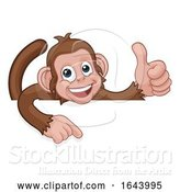 Vector Illustration of Cartoon Monkey Animal Pointing Thumbs up Sign by AtStockIllustration