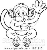 Vector Illustration of Cartoon Monkey Animal Waving and Pointing by AtStockIllustration