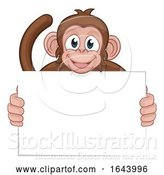 Vector Illustration of Cartoon Monkey Character Animal Holding Sign by AtStockIllustration
