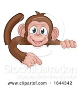 Vector Illustration of Cartoon Monkey Character Animal Pointing at Sign by AtStockIllustration