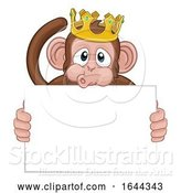 Vector Illustration of Cartoon Monkey King Crown Animal Holding Sign by AtStockIllustration