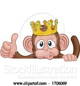 Vector Illustration of Cartoon Monkey King Crown Animal Thumbs up Sign by AtStockIllustration