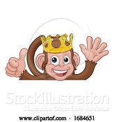Vector Illustration of Cartoon Monkey King Crown Thumbs up Waving Sign Cartoon by AtStockIllustration